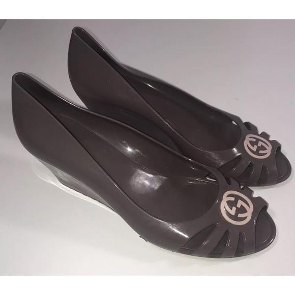 662bb52130976 Gucci Shoes - Gucci Marola peep toe jelly wedge shoes 37